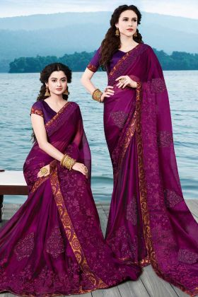 Wine Satin Chiffon Wedding Saree