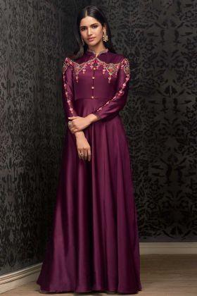 Wine Satin Silk Party Wear Gown