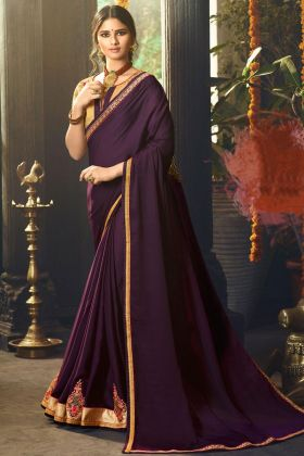 Wine Satin Silk Saree Online