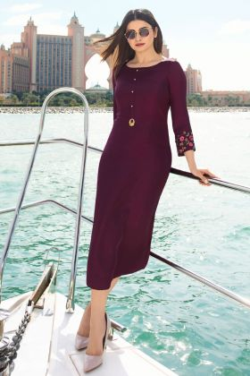 Wine Satin Silk Thread Work Kurti