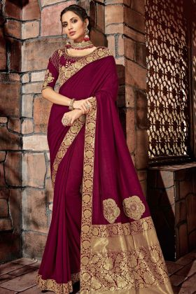 Wine Silk Georgette Designer Saree