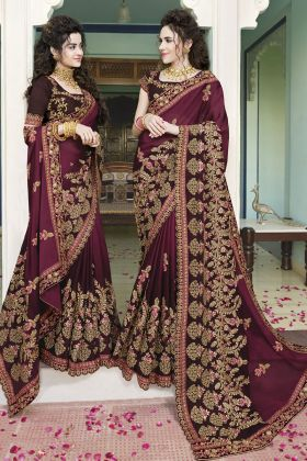 Wine Silk Georgette Festive Saree