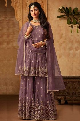 Wine Stunning Net Sharara Suit