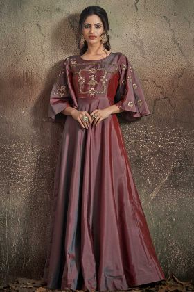 Wine Tafeta Art Silk Fancy Gown