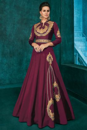 Wine Triva Silk Party Wear Gown With Embroidery Work