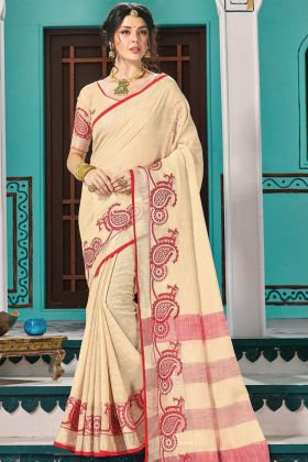 Woman Attractive Cream Linen Cotton Weaving Festive Saree