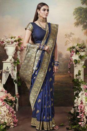Woman Attractive Royal Blue Banarasi Silk Saree