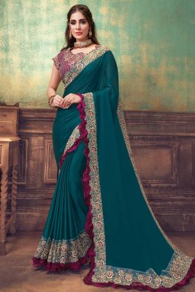 Woman Attractive Turquoise Blue Silk Georgette Saree