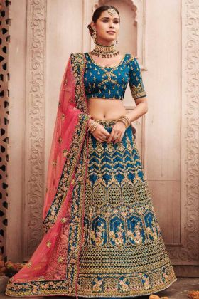 Woman's Designer Blue Color Bridal Waer Lehenga Choli For Wedding