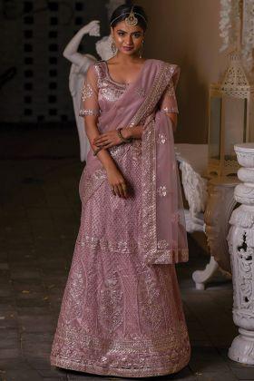 Woman's Designer Old Rose Pink Color Wedding Wear Lehenga Choli