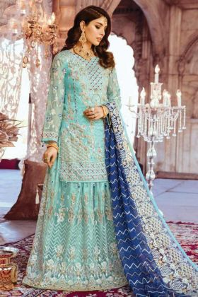 Woman's Party Wear Sky Blue Full Embroidered Georgette Sharara Suit