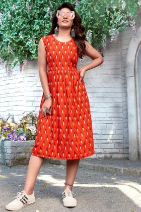 Womans Readymade Orange Rayon Printed Short Tunic Kurti