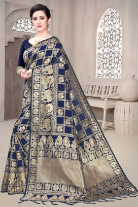 Womans Wear Soft Banarasi Silk Navy Blue Saree Online Shopping Store