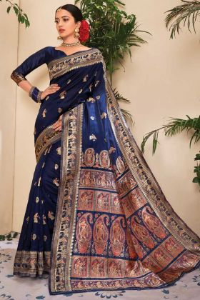 Women Attractive Navy Blue Saree In Jacquard Silk