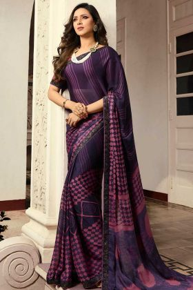 Women Daily Wear Saree In Georgette Fabric