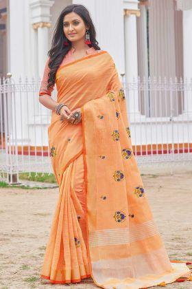 Women DesignerSaree Orange With Beautiful Blouse