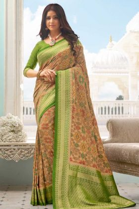 Women's New Fancy Designer Green Handloom Silk Saree