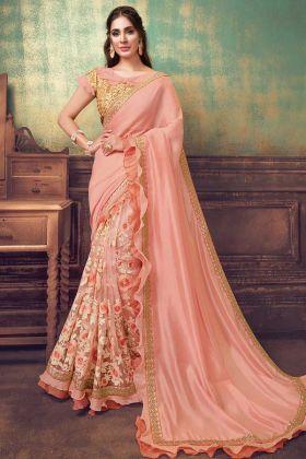 Women's New Fancy Designer Peach Silk Georgette Saree