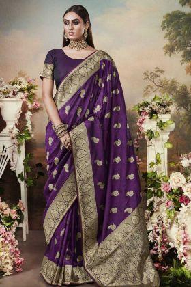 Women's New Fancy Designer Purple Banarasi Silk Saree