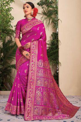 Women's New Fashion Dark Pink Color Jacquard Saree
