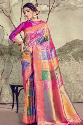 Women's Banarasi Saree With Unstiched Blouse Piece