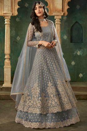 Women's Salwar Suit For Wedding In Grey Color