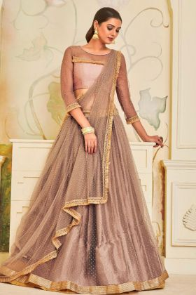 Women's Semi Stitched Net Lehenga Choli Light Brown Color For Weddings