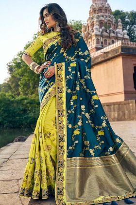 Women Silk Jacquard Lemon Green And Teal Wedding Saree