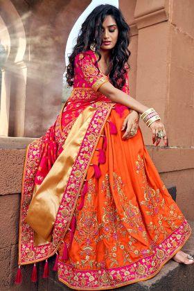 Women Silk Jacquard Orange And Pink Wedding Saree