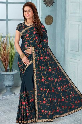 Women Teal Blue Color Georgette Embroidered Saree