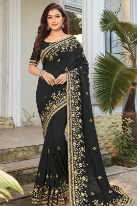 Womens Fashion Black Cotton Silk Saree With Embroidred Work