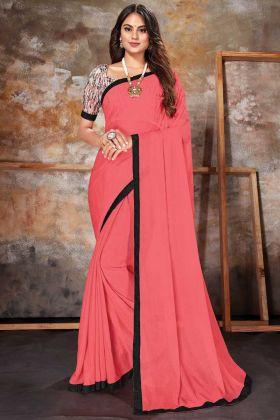 Womens Fashion Gajari Lycra Plain Saree With Lace Border
