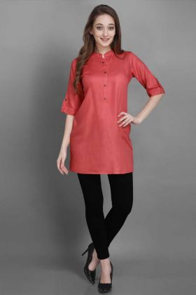 Womens Readymade Short Tunic Kurti In Pink Color