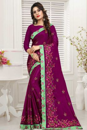Womens Purple Party Wear Latest Saree