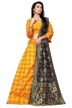 Woven Print Work Yellow Color Jacquard Wedding Lehenga Choli