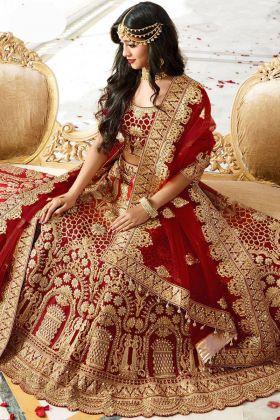 Yeh Rishta Kya Kehlata Hai Tv Serial Bollywood Actress Naira Maroon Kerala Silk Indian Bridal Lehenga Choli