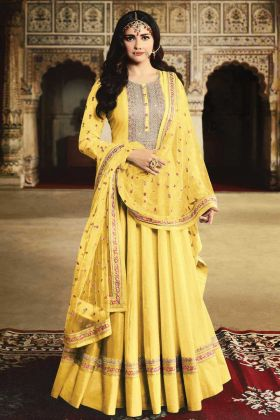 Yellow Anarkali Salwar Kameez In Georgette