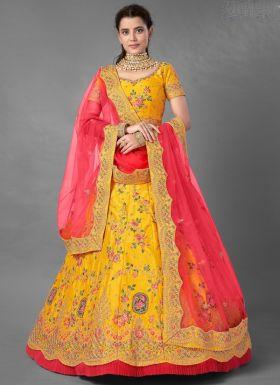 Yellow Art Silk Haldi Wear Lehenga Choli
