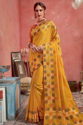 Yellow Color Blended Cotton Jacquard Banarasi Silk Saree