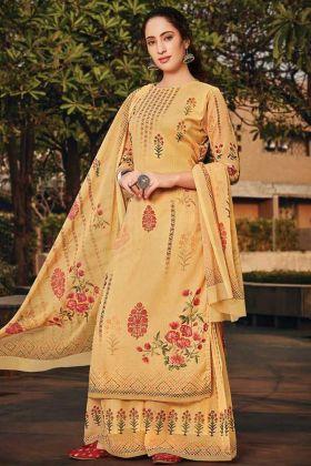 Yellow Color Designer Party Wear Plazzo Suit Online