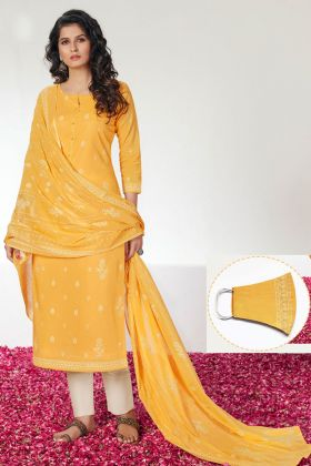 Yellow Color Designer Pure Cotton Salwar Suit With Mask