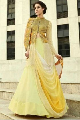 Yellow Color Embroidery Bridal Lehenga Dress