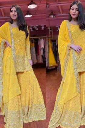 Yellow color Thread Work Fashion Designer Yankita Kapoor Sharara Suit