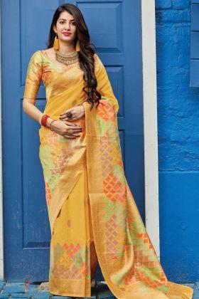 Yellow Color Festive Wear Silk Saree