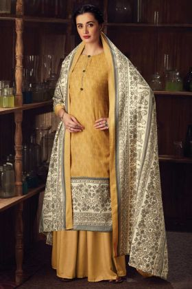 Yellow Color Latest Designer Pure Wool Pashmina Plazzo Suit