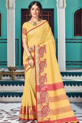 Yellow Color Linen Cotton Weaving Party Wear Saree