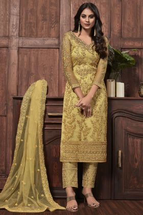 Yellow Color Net Coding And Stone Work Designer Suit