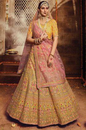 Yellow Color Organza Bridal Wear Lehenga Choli