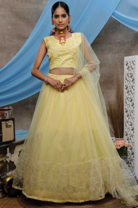 Yellow Color Party Wear Net Lehenga Choli