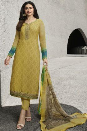 Yellow Color Party Wear Royal Crepe Salwar Suit Online